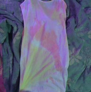 Fitted tie dye mini dress